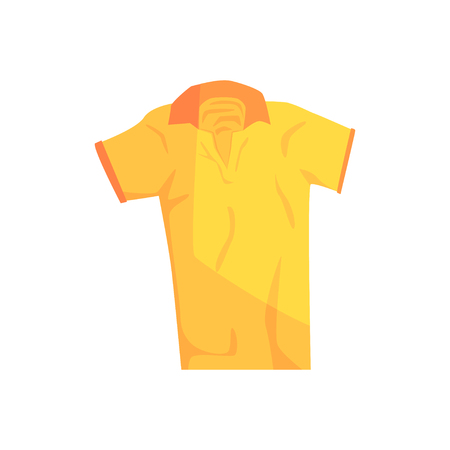 Yellow sport polo shirt vector Illustration