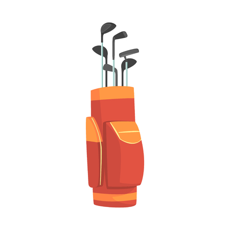 Red and orange golf bag full of clubs, golfer sport equipment vector Illustration Reklamní fotografie - 81632920