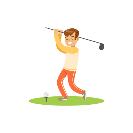 Smiling golf player hitting the ball vector Illustration
