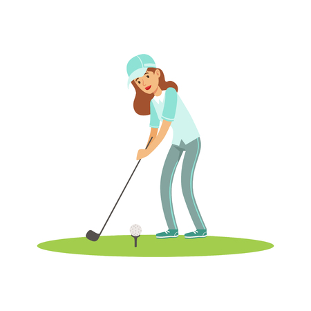 Smiling woman golfer in a light blue shirt and cap hitting the ball vector Illustration