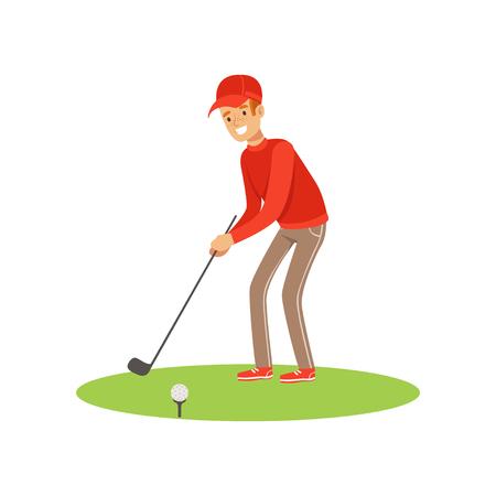 赤いプルオーバーとスイング ベクトル図を取ってキャップ ゴルフ プレーヤー  イラスト・ベクター素材