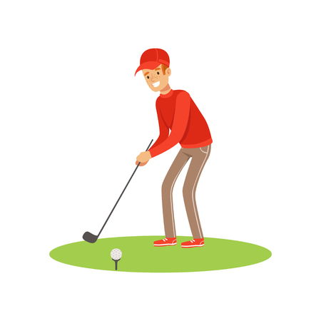 Golf player in a red pullover and cap taking a swing vector Illustration
