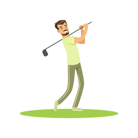 Golf player in a green uniform taking a swing vector Illustration Ilustração