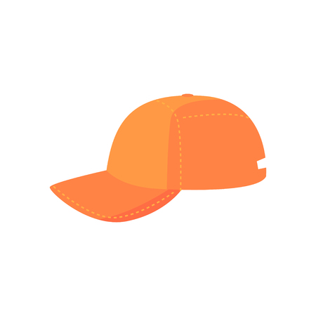 Orange baseball cap, sport equipment cartoon vector Illustration