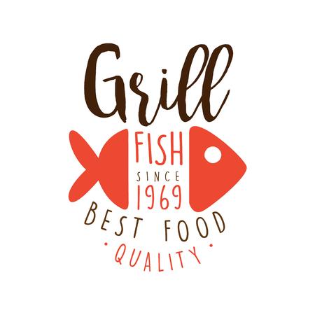 Grill vis sinds 1969 logo sjabloon hand getekende kleurrijke vector illustratie