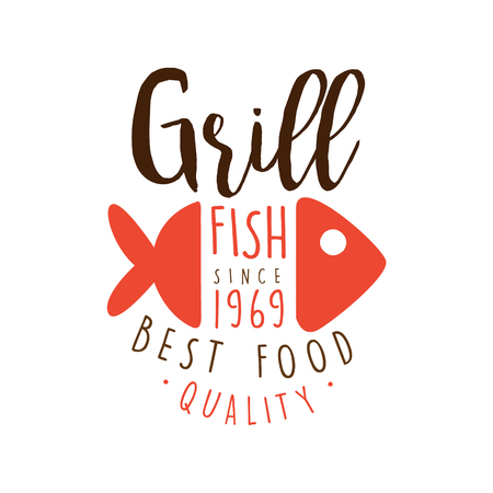 Grill fish since 1969 logo template hand drawn colorful vector Illustration