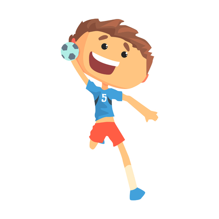 Boy handball player character cartoon vector Illustration isolated on a white background