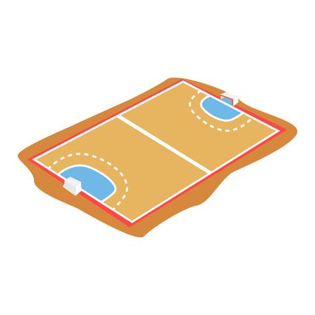 白い背景に分離されたハンドボール裁判所、遊び場漫画ベクトル図  イラスト・ベクター素材