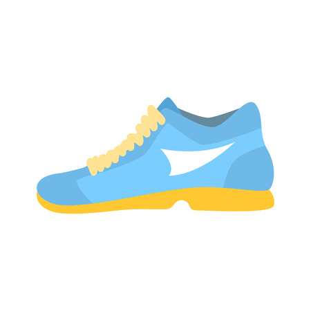 Light blue athletic shoe cartoon vector Illustration isolated on a white background