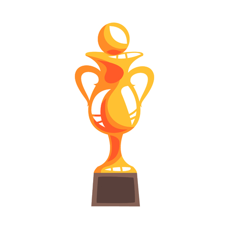 Golden winner cup with handball ball cartoon vector Illustration isolated on a white background