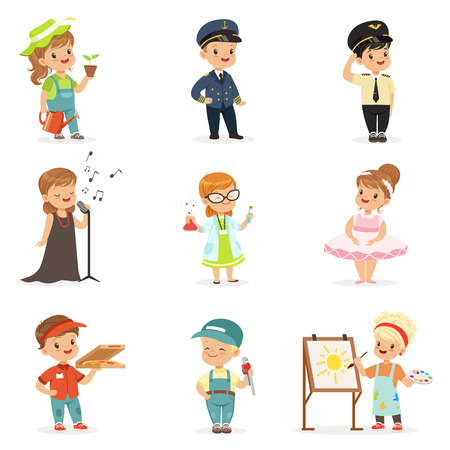 Cute kids in various professions set. Smiling little boys and girls in uniform with professional equipment colorful vector illustrations
