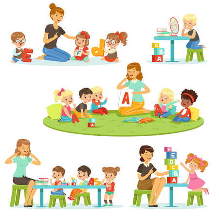 Teacher explaining alphabet to children around her set. Smiling little boys and girls playing and studying in kindergarten vector illustrations