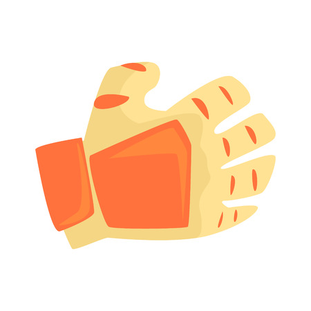 Orange sport glove, handball sport equipment cartoon vector Illustration isolated on a white background Ilustracja