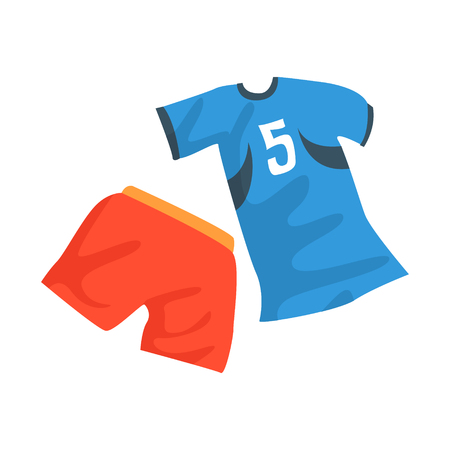 Sports uniform of handball player, shirt with number 11, handball sport equipment cartoon vector Illustration Ilustracja