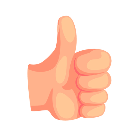 Thumb up hand gesture, success sign cartoon vector Illustration