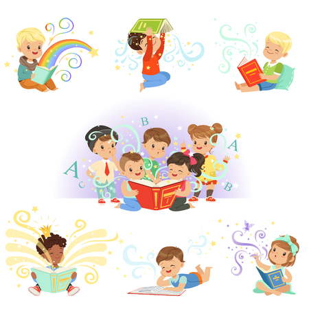 Cute little kids reading fairy tales set. Childrens dream world colorful vector illustrations