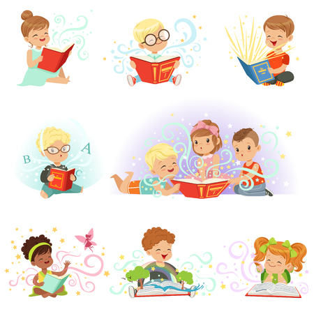 interesting: Adorable little boys and girls sitting and reading fairy tales set. Kids fabulous imagination vector illustrations