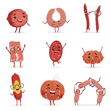 Cute funny humanized sausage showing different emotions set of colorful characters vector Illustrations