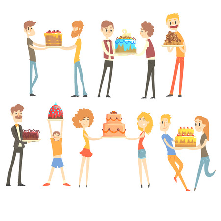 Set of happy and loving people celebrating anniversary with a festive cake colorful characters vector Illustrations