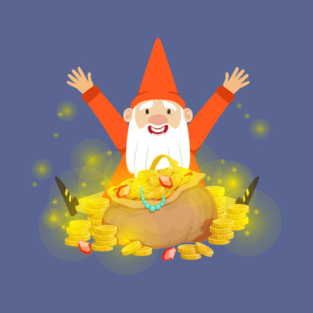 Cute happy dwarf sitting on a gold treasures vector Illustration