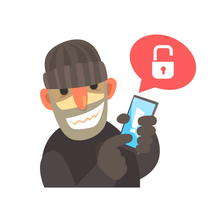 Smiling cartoon hacker holding a hacked smartphone cartoon vector Illustration Illustration