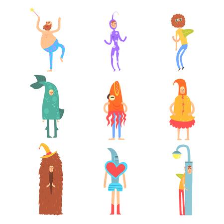 Conjunto de personas en disfraces divertidos, personajes de hombre vestidos con diferentes disfraces para el vector del partido de los niños Foto de archivo - 81797039