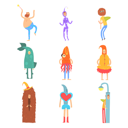 Set of people in funny costumes, man characters dressed in different costumes for childrens party vector Illustrations Illustration