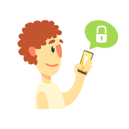 Cartoon man holding smartphone protected from hacker threats, cybersecurity cartoon vector Illustration