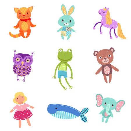 귀여운 다채로운 부드러운 봉제 동물 장난감 벡터 일러스트 세트