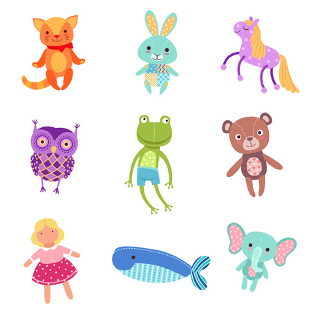 Set of cute colorful soft plush animal toys vector Illustrations Çizim