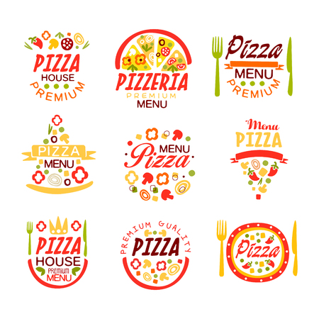 Pizza house, pizzeria premium menu logo templates set of colorful vector Illustrations