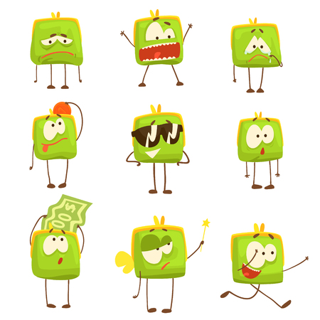 Cute green funny humanized purse showing different emotions set of colorful characters vector Illustrations Illustration
