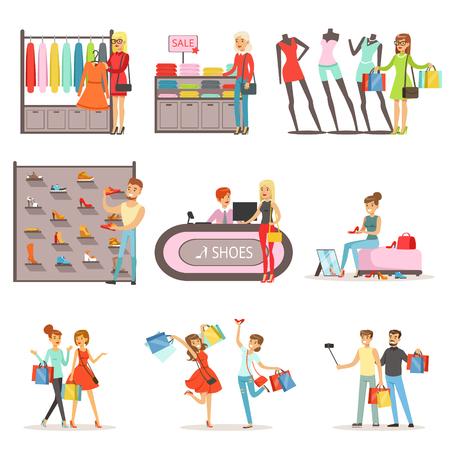 Menschen einkaufen und kaufen Kleidung und Schuhe gesetzt, Bekleidungsgeschäft Innenraum bunte Vektor Illustrationen isoliert