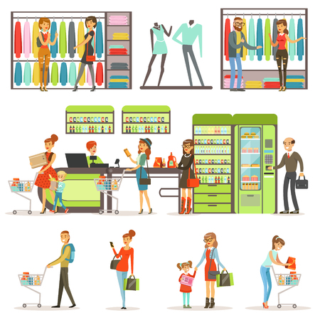 store shelf: People buying grocery products and clothes in the supermarket set, family shopping colorful vector Illustrations