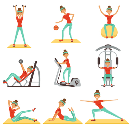 flexibility: Fitness woman exercising in the gym with sports equipment set of colorful vector Illustrations