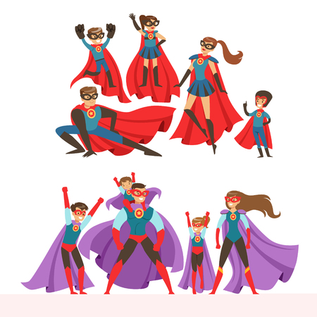 슈퍼 히어로의 가족이 설정합니다. 웃는 부모와 자녀가 슈퍼 히어로 의상을 입은 밝은 파란색 배경에 고립 된 다채로운 벡터 일러스트 일러스트
