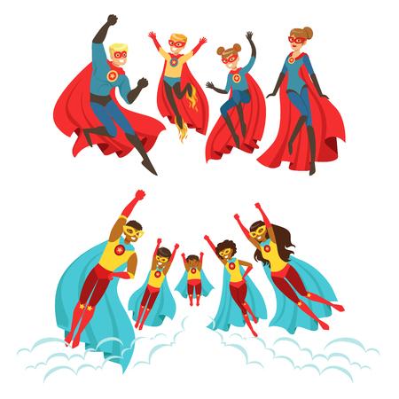 Feliz familia de superhéroes establecido. Los padres sonrientes y sus hijos vestidos de superhéroes ilustraciones coloridas vector