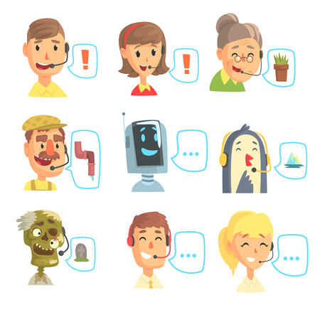 Set of funny call centre operators with headset, customer support service colorful vector illustrations isolated on a light blue background Ilustração