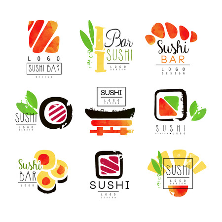 Sushi bar logo design set of colorful watercolor vector Illustrations