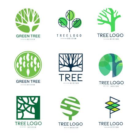 Groene boom logo originele ontwerp set van vector illustraties in groene kleuren Stock Illustratie