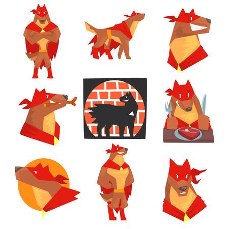 행동에서 개 슈퍼 히어로 문자, 붉은 케이프와 다른 포즈에서 개 벡터 일러스트