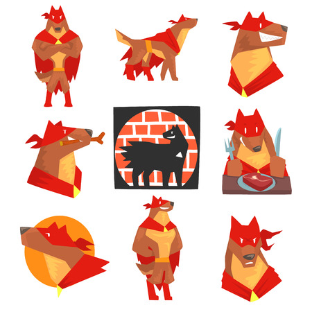 Dog superhero character in action set, dog in different poses with red cape vector Illustrations Ilustração