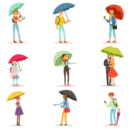 우산을 가진 사람들. 남자와 여자는 우산을 걷고 웃는 다채로운 문자 벡터 일러스트 흰색 배경에 고립 된