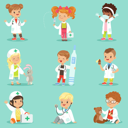 Adorable kids playing doctor set. Smiling little boys and girls dressed as doctors playing with toy medical equipment vector illustrations Çizim