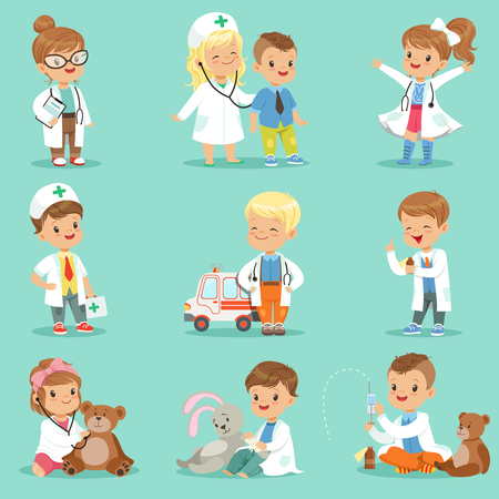Cute kids playing doctor set. Smiling little boys and girls dressed as doctors examining and treating their patients vector illustrations Çizim