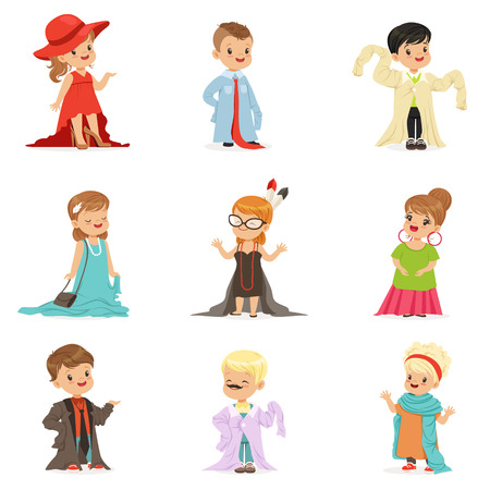 Cute little kids wearing elegant adult oversized clothes set, children pretending to be adults vector Illustrations isolated on white background Ilustração