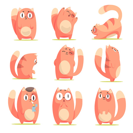 Cute red cartoon cat character with different emotions set of vector Illustrations isolated on white background
