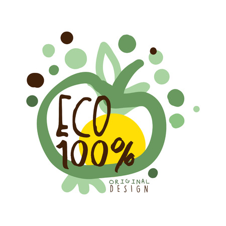One hundred percent eco label, original design,   graphic template hand drawn vector Illustration in green colors
