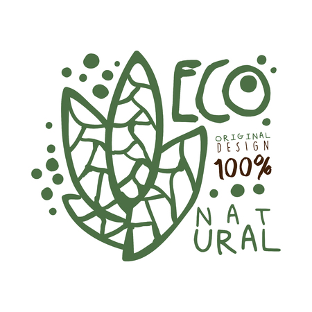 One hundred percent eco natural label original design,  graphic template. Healthy lifestyle, handmade products, organic food menu hand drawn vector Illustration