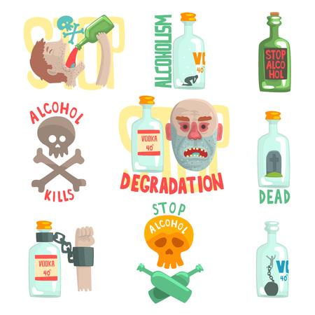 危険性とアルコールの危険、アルコール依存症ベクター イラストを設定